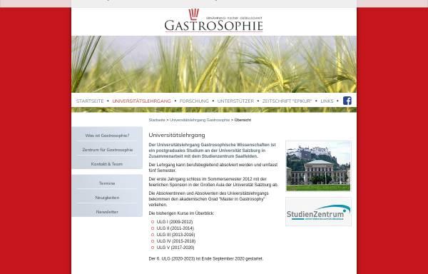 Vorschau von www.gastrosophie.at, Universitätslehrgang für gastrosophische Wissenschaften an der Paris-Lodron-Universität Salzburg