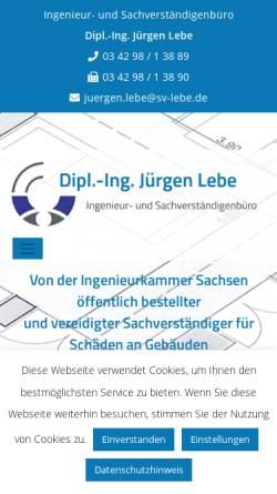 Vorschau der mobilen Webseite www.sv-lebe.de, Lebe, Jürgen