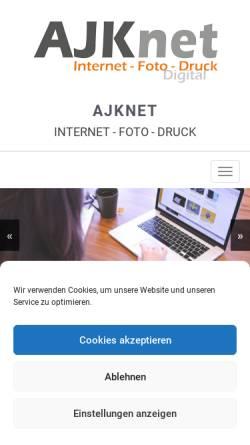 Vorschau der mobilen Webseite ajknet.de, @JKnet - Inh. Armin J. Kleisinger