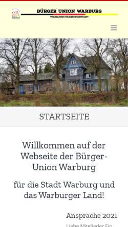 Vorschau der mobilen Webseite www.buergerunion-warburg.de, Bürgerunion Warburg