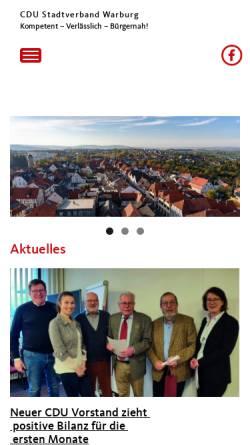 Vorschau der mobilen Webseite www.cdu-warburg.de, CDU-Stadtverband Warburg