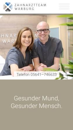 Vorschau der mobilen Webseite www.zahnaerztin-warburg.de, Dr. med. dent. Sabine Kusche, Praxis für Zahnheilkunde