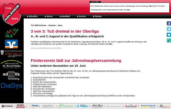 Vorschau von www.tus-holzheim.de, Turn & Sportverein 1888 Holzheim