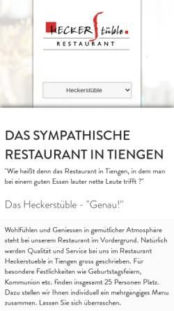 Vorschau der mobilen Webseite www.heckerstueble.de, Trattoria Heckerstüble