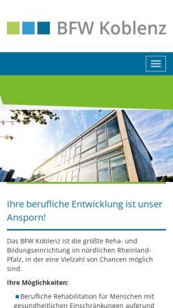 Vorschau der mobilen Webseite www.bfw-koblenz.de, CJD Berufsförderungswerk Koblenz Gemeinnützige GmbH