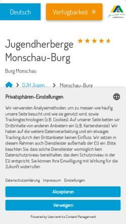 Vorschau der mobilen Webseite www.burg-monschau.jugendherberge.de, Jugendherberge Burg Monschau