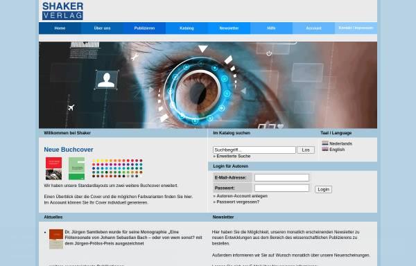 Vorschau von www.shaker.de, Shaker Verlag GmbH