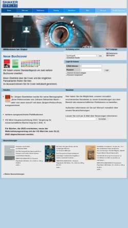 Vorschau der mobilen Webseite www.shaker.de, Shaker Verlag GmbH