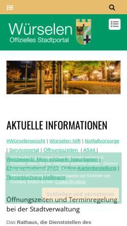 Vorschau der mobilen Webseite www.wuerselen.de, Würselen