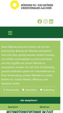 Vorschau der mobilen Webseite www.gruene-region-aachen.de, Bündnis 90/Die Grünen, Kreisverband Städteregion Aachen