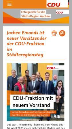 Vorschau der mobilen Webseite www.cdu-staedteregion-aachen.de, CDU, StädteRegion Aachen