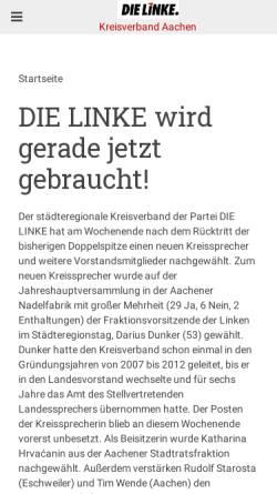 Vorschau der mobilen Webseite dielinke-aachen.de, Die Linke. Kreisverband Städteregion Aachen