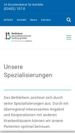 Vorschau der mobilen Webseite www.bethlehem.de, Bethlehem Gesundheitszentrum