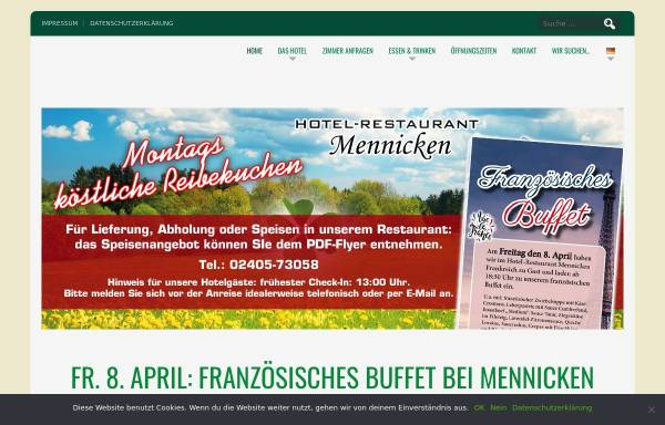 Vorschau von www.hotel-mennicken.de, Hotel-Restaurant Mennicken