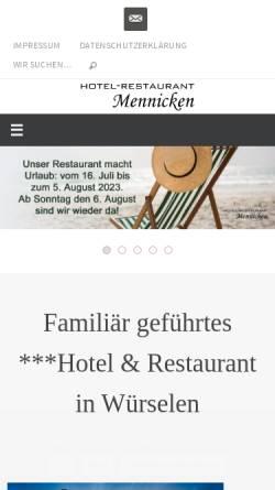 Vorschau der mobilen Webseite www.hotel-mennicken.de, Hotel-Restaurant Mennicken