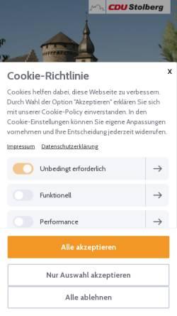 Vorschau der mobilen Webseite www.cdu-stolberg.de, CDU-Stadtverband Stolberg