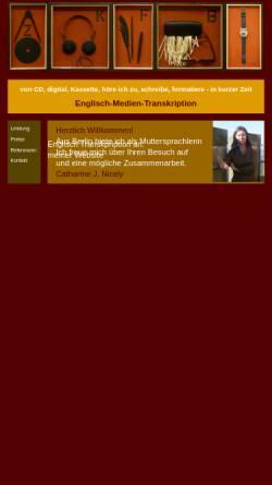 Vorschau der mobilen Webseite englisch-medien-transkription.de, Englisch-Medien-Transkription Catherine Nicely