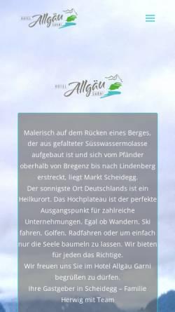 Vorschau der mobilen Webseite www.hotel-allgaeu-garni.de, Hotel Allgäu garni