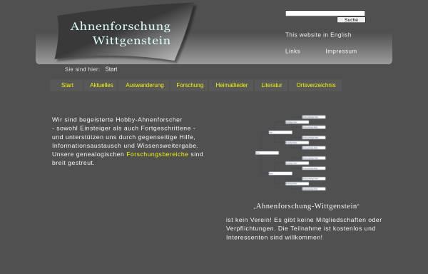 Vorschau von www.genealogy.net, Ahnenforschung Altkreis Wittgenstein