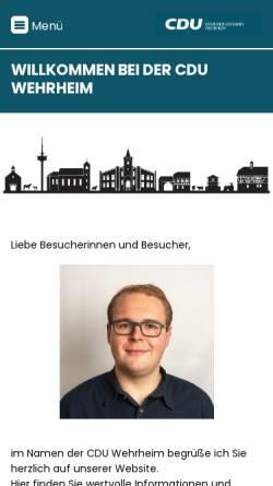 Vorschau der mobilen Webseite cdu-wehrheim.de, CDU Wehrheim