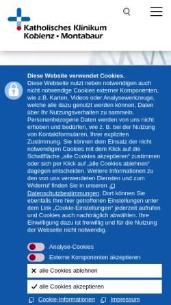 Vorschau der mobilen Webseite www.kk-km.de, Katholisches Klinikum Koblenz