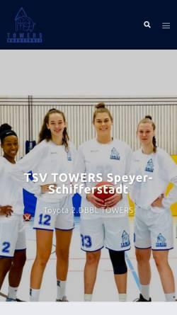 Vorschau der mobilen Webseite www.towers-basketball.de, TSV TOWERS Speyer-Schifferstadt