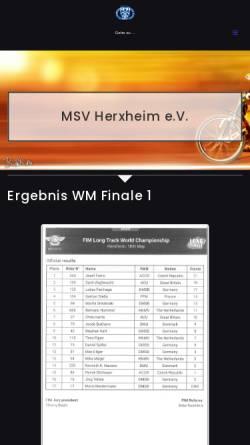 Vorschau der mobilen Webseite www.speedway.de, Motorsportvereinigung Herxheim e. V.
