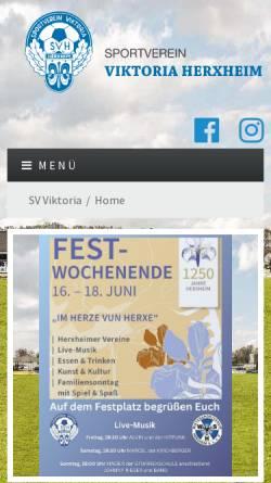 Vorschau der mobilen Webseite www.viktoria-herxheim.de, Sportverein Viktoria Herxheim 1913 e.V.