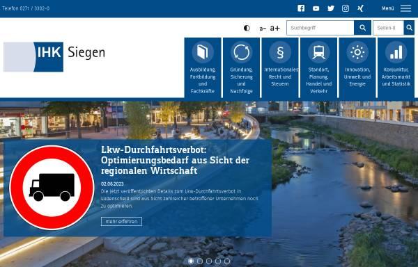 Vorschau von www.ihk-siegen.de, Industrie- und Handelskammer Siegen (IHK)