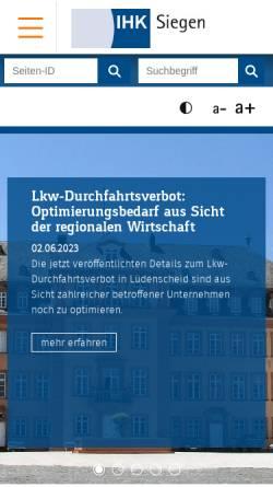 Vorschau der mobilen Webseite www.ihk-siegen.de, Industrie- und Handelskammer Siegen (IHK)