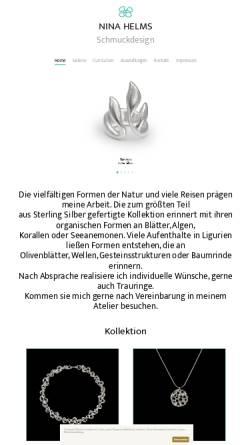 Vorschau der mobilen Webseite www.ninahelms.de, Nina Helms Schmuckdesign