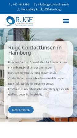 Vorschau der mobilen Webseite ruge-contactlinsen.de, Ruge Contactlinsen Praxis
