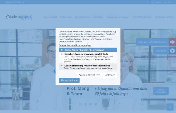 Vorschau von bodenseeklinik.de, Bodenseeklinik Prof. Mang, Klinik für plastische und ästhetische Chirurgie GmbH