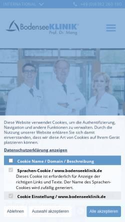 Vorschau der mobilen Webseite bodenseeklinik.de, Bodenseeklinik Prof. Mang, Klinik für plastische und ästhetische Chirurgie GmbH