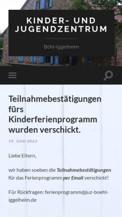 Vorschau der mobilen Webseite www.juz-boehl-iggelheim.de, Kinder- und Jugendzentrum Böhl-Iggelheim