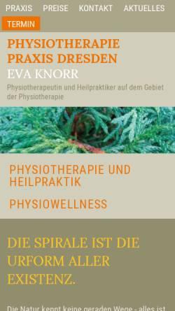 Vorschau der mobilen Webseite www.physiotherapie-knorr.de, Physiotherapie Eva Knorr