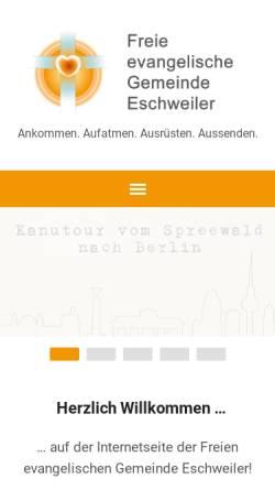 Vorschau der mobilen Webseite eschweiler.feg.de, Freie evangelische Gemeinde Eschweiler