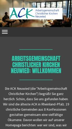 Vorschau der mobilen Webseite www.ack-neuwied.de, Arbeitsgemeinschaft Christlicher Kirchen in Neuwied