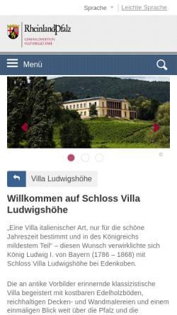 Vorschau der mobilen Webseite schloss-villa-ludwigshoehe.de, Villa Ludwigshöhe - Wikipedia