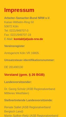 Vorschau der mobilen Webseite www.asbhamm.de, Arbeiter-Samariter-Bund (ASB), Reginalverband Hamm/Soest e.V.
