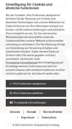 Vorschau der mobilen Webseite www.hospitalverbund.de, Katholischer Hospitalverbund Hellweg