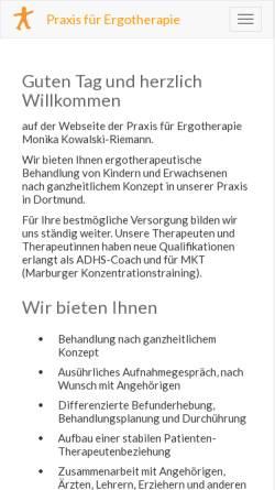 Vorschau der mobilen Webseite www.ergotherapie-kowalski-riemann.de, Praxis für Ergotherapie Monika Kowalski-Riemann