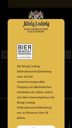 Vorschau der mobilen Webseite www.koenig-ludwig-brauerei.com, König Ludwig Schloßbrauerei Kaltenberg