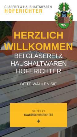 Vorschau der mobilen Webseite www.glaserei-hoferichter.de, Glaserei und Haushaltswaren Hoferichter