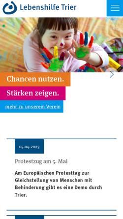 Vorschau der mobilen Webseite www.lebenshilfe-trier.de, Lebenshilfe Trier e.V.