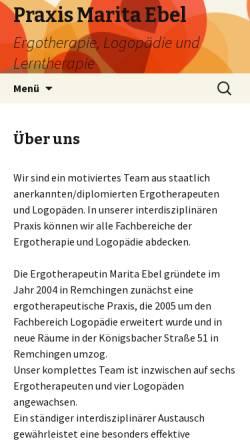 Vorschau der mobilen Webseite www.ergo-ebel.de, Praxis für Ergotherapie Marita Ebel