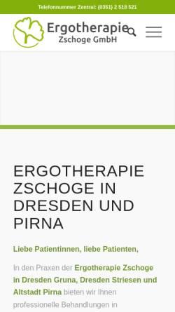 Vorschau der mobilen Webseite www.ergotherapie-zschoge.de, Ergotherapie Zschoge