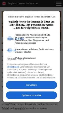 Vorschau der mobilen Webseite www.englisch-lernen-im-internet.de, Englisch lernen im Internet