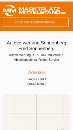 Vorschau der mobilen Webseite www.mon.de, Autoverwertung Fred Sonnenberg