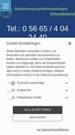 Vorschau der mobilen Webseite www.schwabeland.de, Gebärdensprachdolmetscher Schwabeland